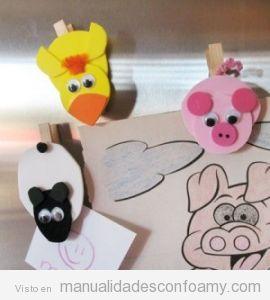 Manualidades niños, pinzas con animales goma eva
