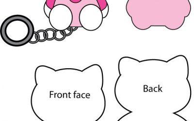 Molde para hacer un llavero de goma eva con forma de Hello Kitty