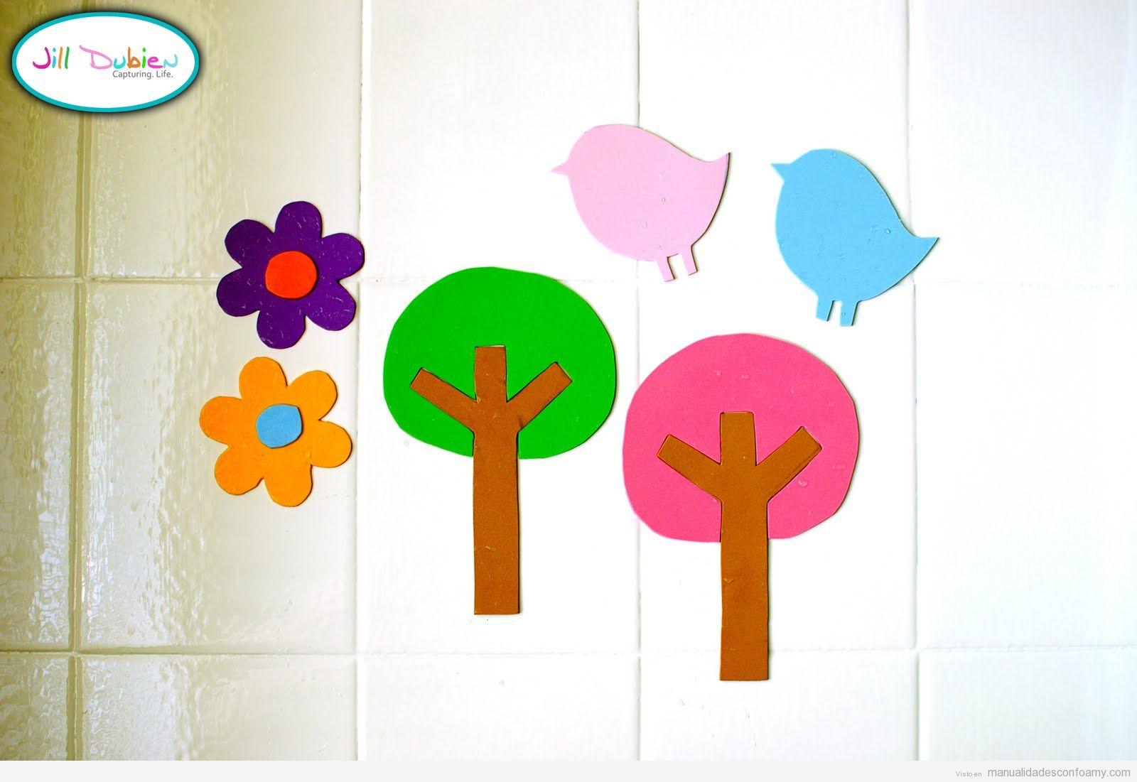 Decoracion Baño Goma Eva:Flores, árboles y pájaros en goma eva para pegar en la bañera y que