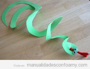 Manualidades fáciles para niños, serpiente goma eva