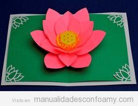 Postal con flor de loto goma eva en pop-up
