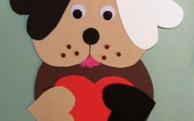 Manualidad en foamy para preescolares: perro con corazón