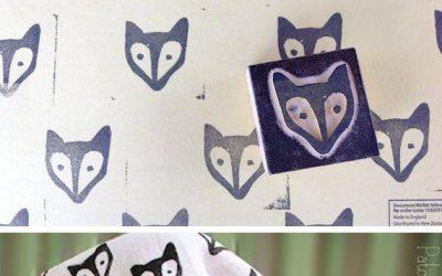 Tampón para estampar cabezas de zorro en tela, hecho con goma eva