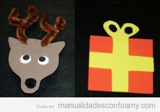 Un reno y un regalo en goma eva, manualidad para hacer con niños en Navidad