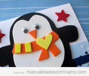 Pingüinos de foamy, manualidad para niños en Navidad 2