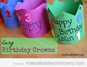 Corona cumpleaños hecha con goma eva para niños preescolar