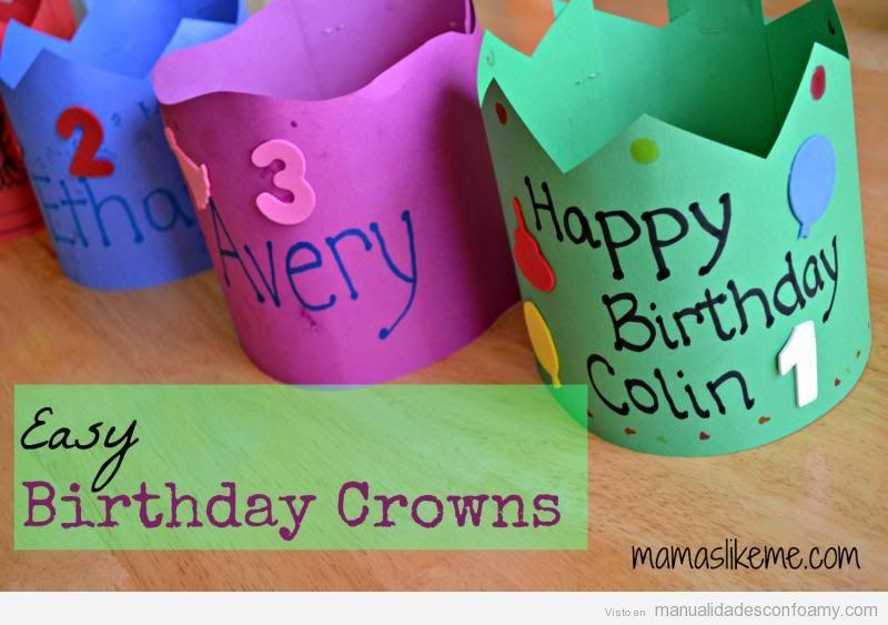 Coronas de cumpleaños muy fáciles para hacer con niños usando goma eva