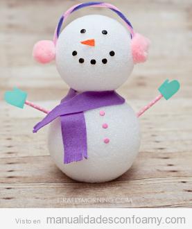 Muñeco de nieve, manualidades goma eva fáciles niños