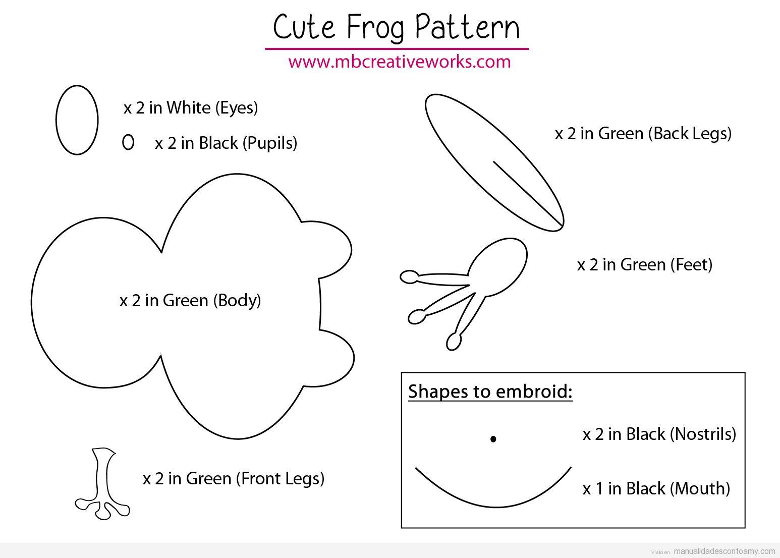 Descargar patrón rana goma eva fácil para niños