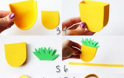 Cómo hacer un bolso con aspecto de piña en goma eva para muñecas (Vídeo)
