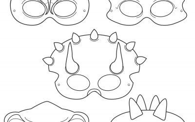 Patrones para hacer máscaras de dinosaurios con goma eva
