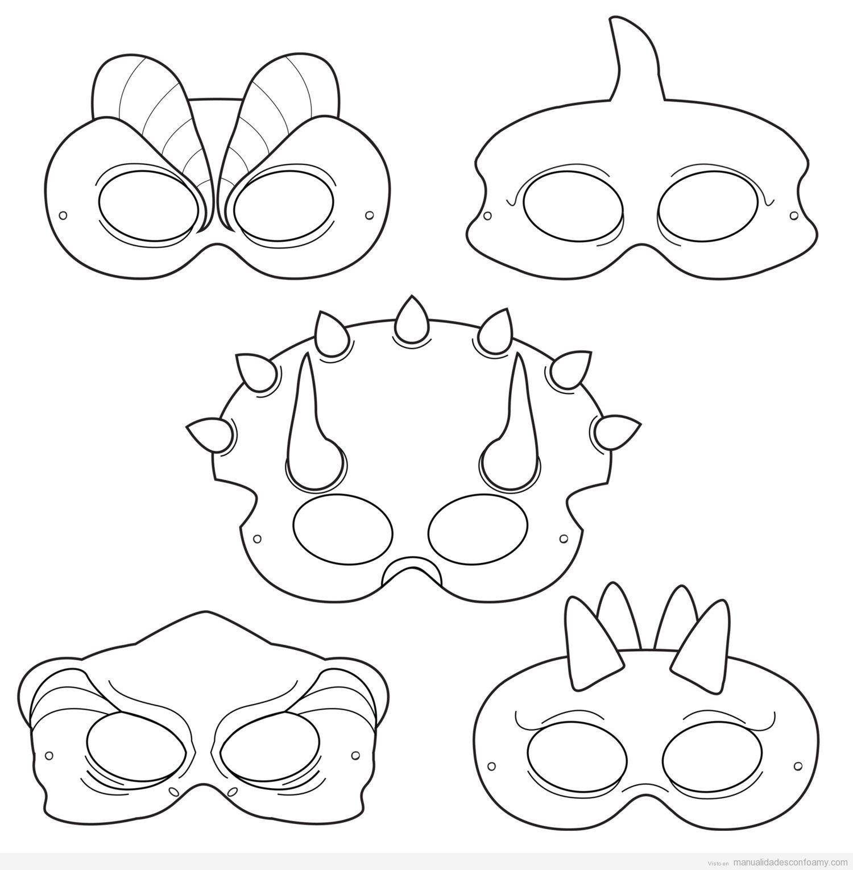 Patrones para hacer máscaras de dinosaurios con goma eva ...