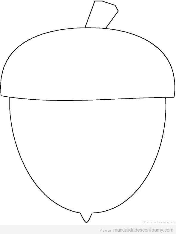 Dibujo plantilla bellota para manualidades
