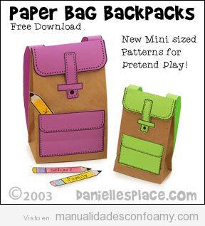 Manualidades para la vuelta al colegio, mochilas