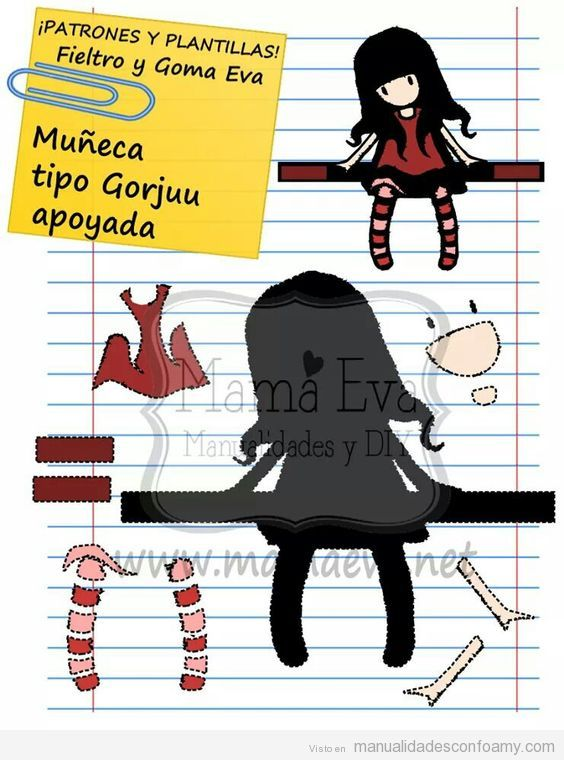 Patrón gratis muñeca tipo Gorjuss 2D o plana 3