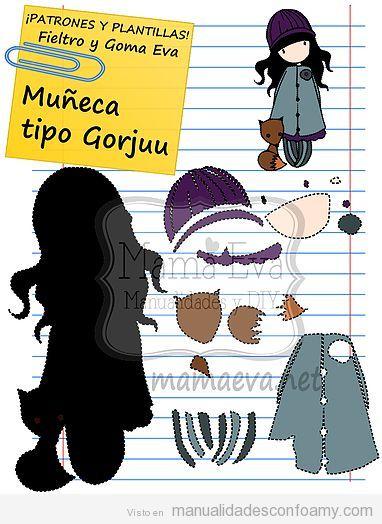 Patrón gratis muñeca tipo Gorjuss 2D o plana 2