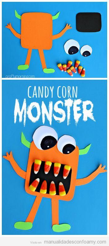 Manualidades fáciles niños goma eva Halloween, monstruo