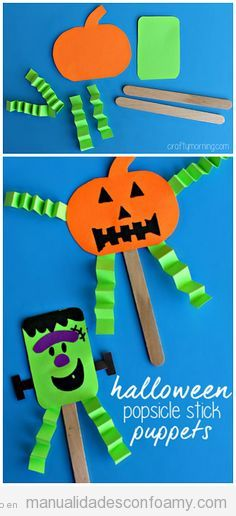 Manualidades fáciles niños goma eva Halloween, calabaza y Frankenstein