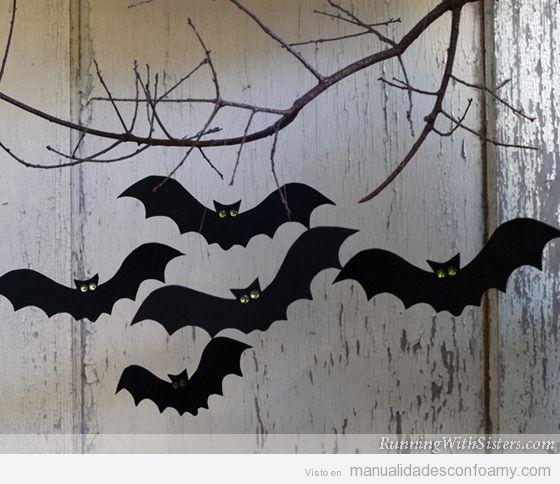 Manualidades fáciles goma eva Halloween, fantasmas y murciélagos 4