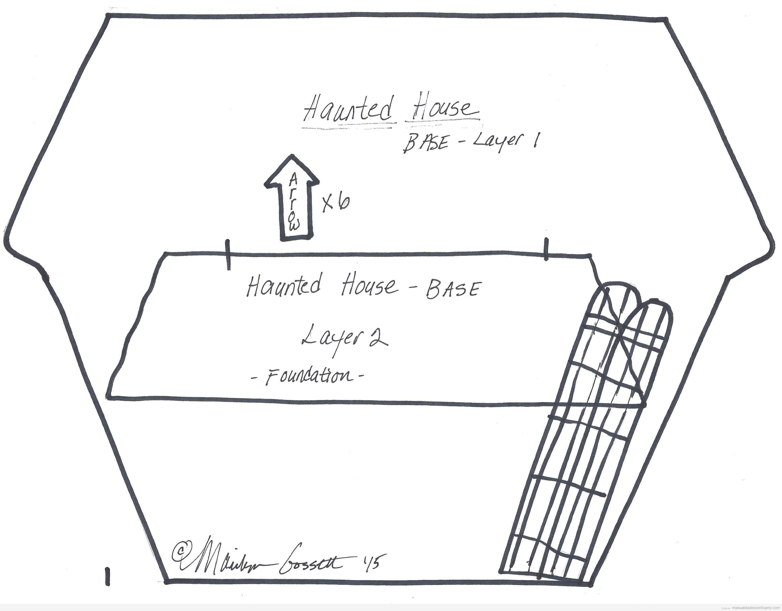 Molde gratis casa encantada goma eva para Halloween 3