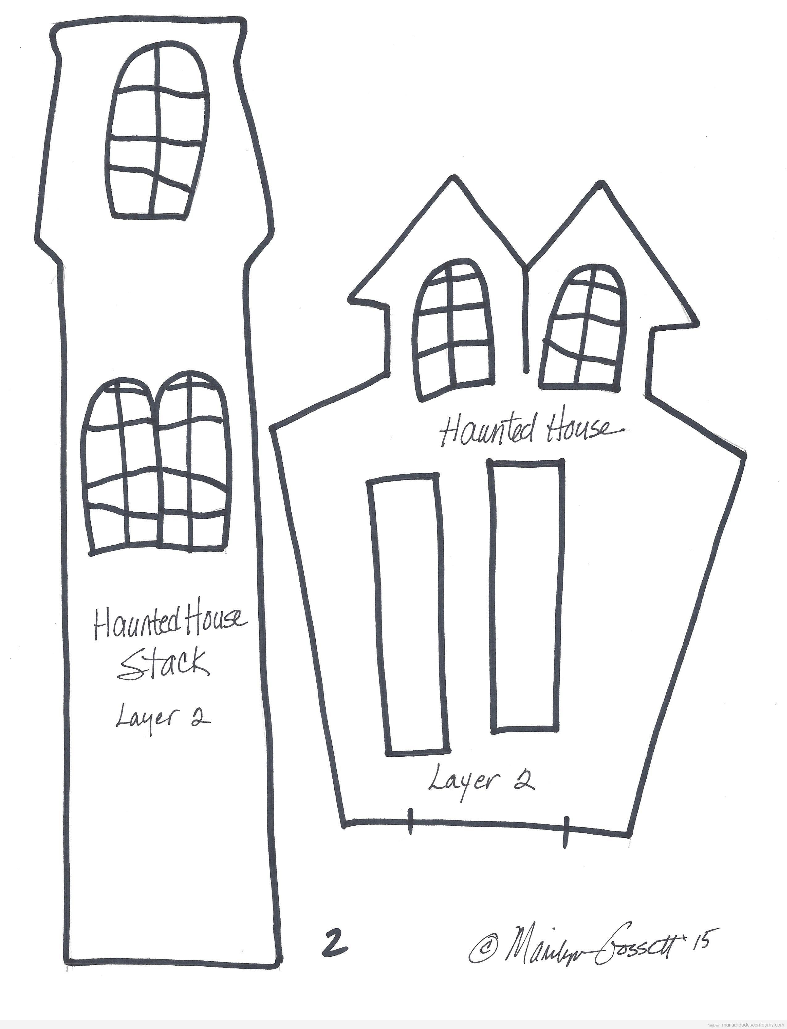 Molde gratis casa encantada goma eva para Halloween