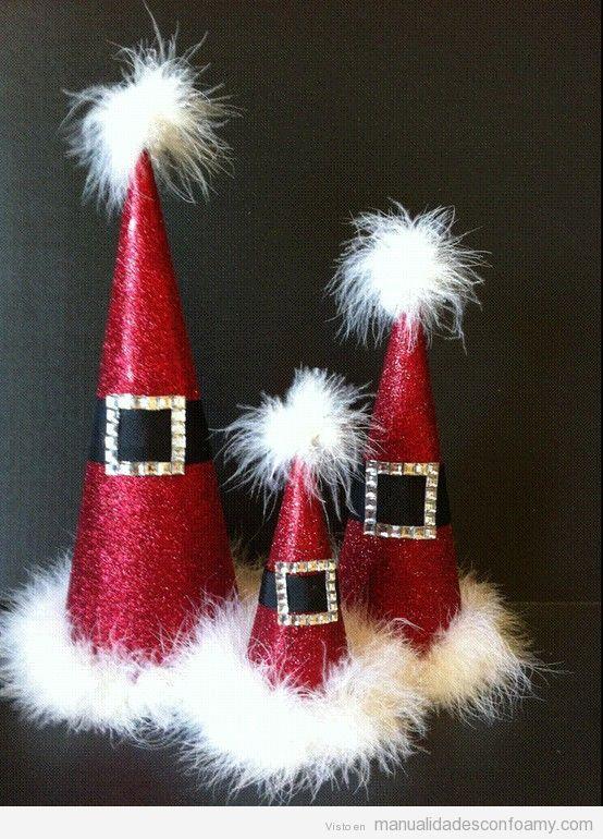 Centros mesa Navidad, conos de foamy
