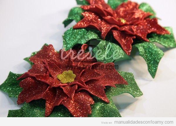 Centros mesa Navidad, flor de pascua de foamy