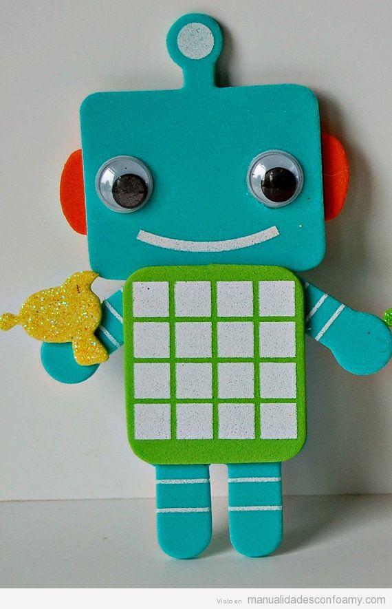 Manualidades para niños, robots de foamy 2