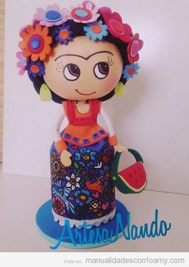 Muñecas de goma eva de Frida Kahlo: fofucha, libreta, topper de lápiz y clips del pelo