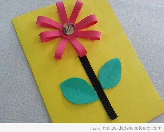 Manualidades goma eva regalar Día de la Madre, postal flores 2