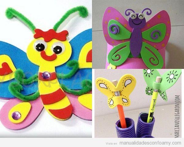 Ideas manualidades mariposas de foamy para niños