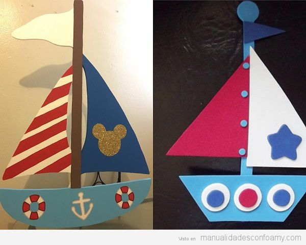 Barcos goma eva fáciles para niños