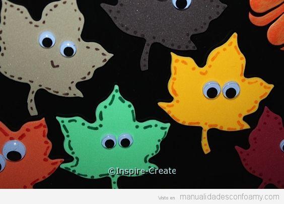 Manualidades otoño para niños, hojas con ojos