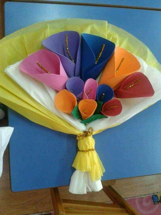 Manualidades con foamy dia de la madre, ramo de flores