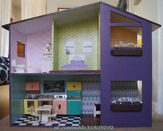 Casas de muñecas con papel pintado
