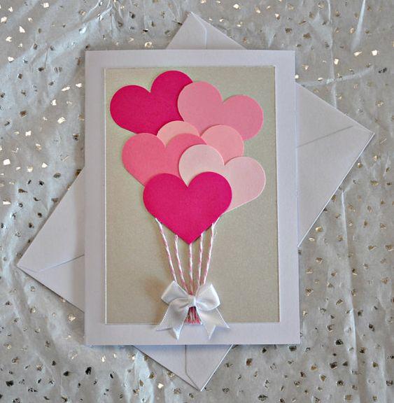 Manualidades foamy San Valentín postal corazones