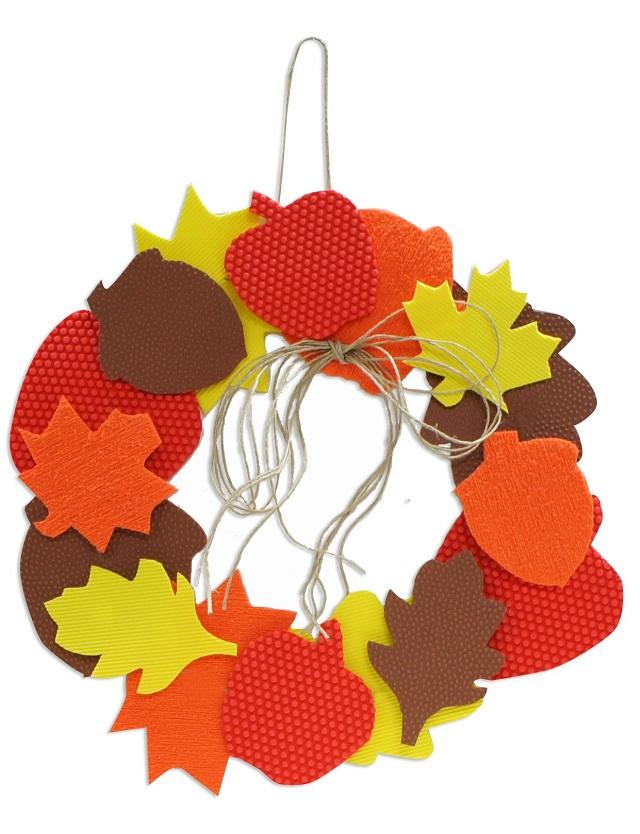 Corona goma eva otoño para puerta de casa 6