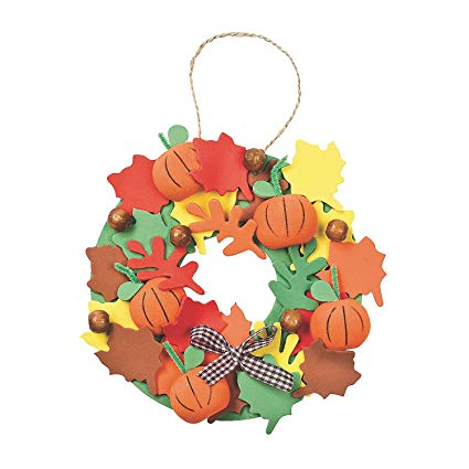 Corona goma eva otoño para puerta de casa