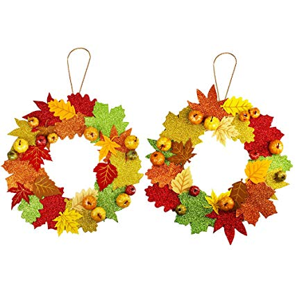 Corona goma eva otoño para puerta de casa 2