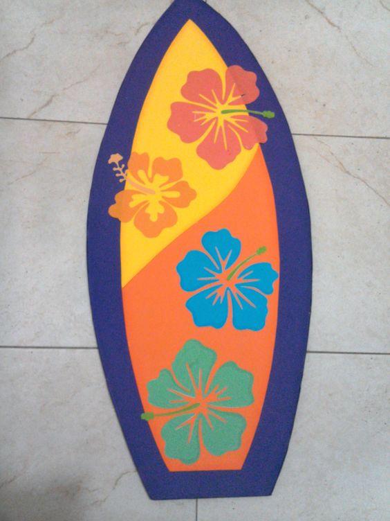 Manualidades foamy playa, tabla surf